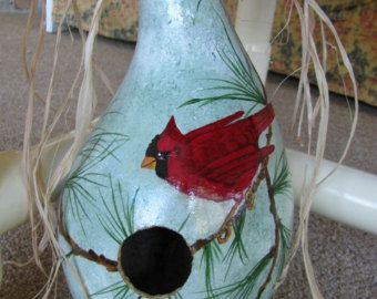Soft Yellow Painted Gourd Birdhouse Beautiful by gourdartistIam
