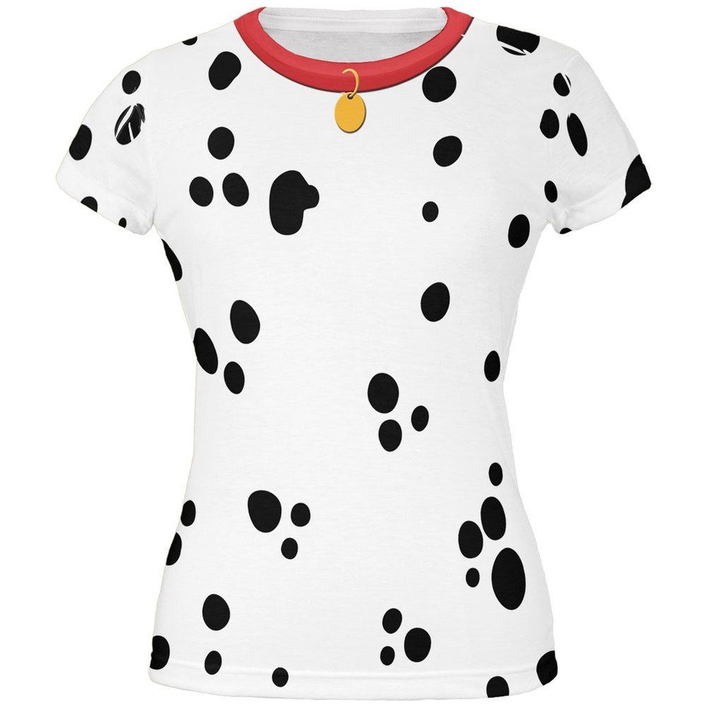 dog dalmatian costume red collar all over juniors t shirt