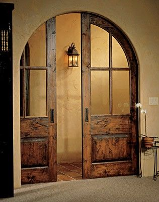 Artisans Doors and Millwork on Donkeehouse - pocket door doorway arch arched artisan old world home decor & Arched pocket sliding doors | Interior Barn Doors | Pinterest ...