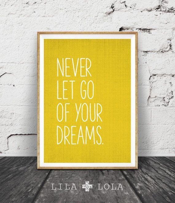 Inspirational Quote Wall Art Dreams Mustard Yellow by lilandlola ...
