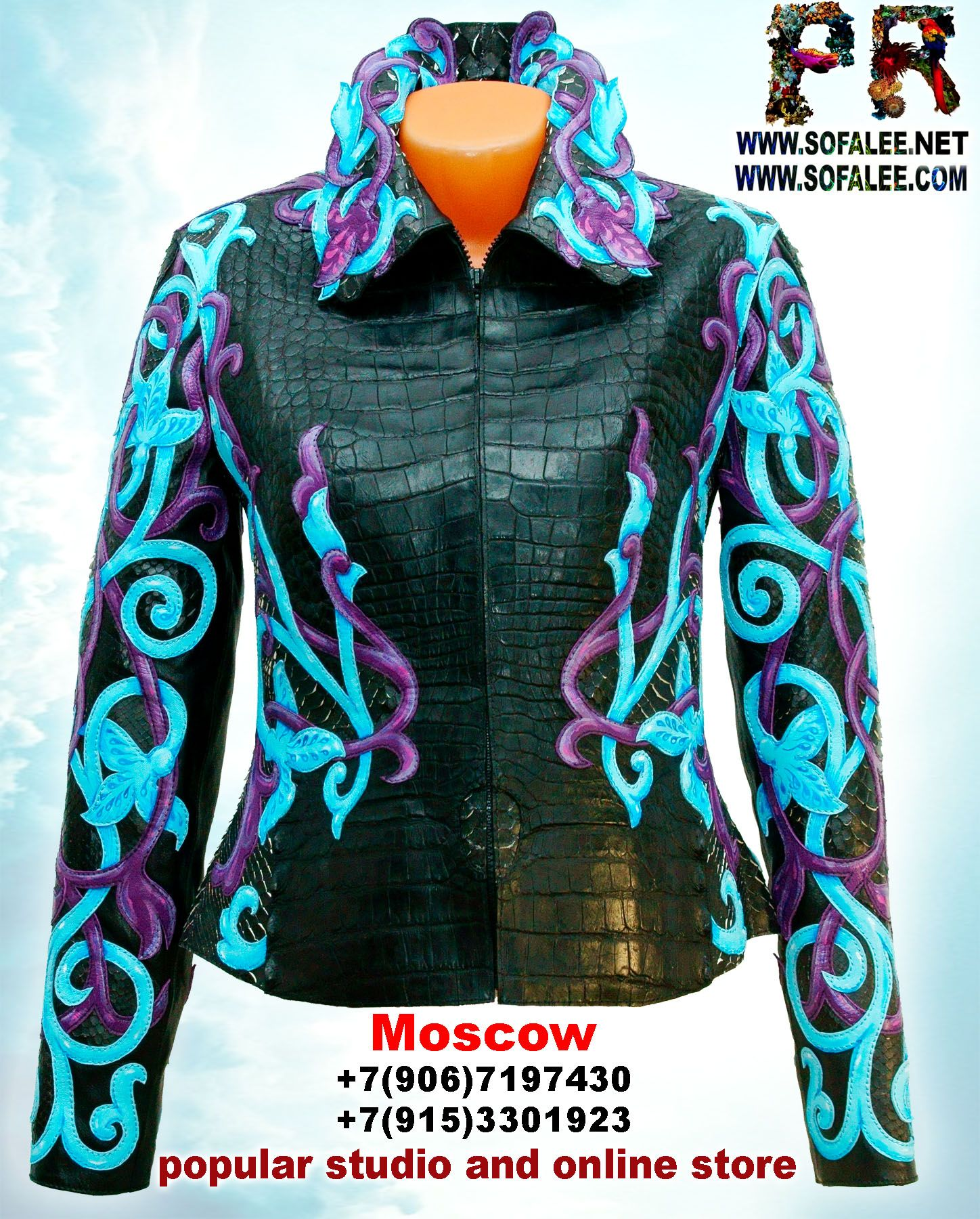 """Luxe leather crocodile python hide jacket for ladies """"Tauretari"""" Exceptional elegant design leather jacket from crocodile python.Fascinating weaving plants. high-end embroidery! Hand-painted work of art! Nice looking combination of blue and black colors. Available. Size SM. Price $3993"""