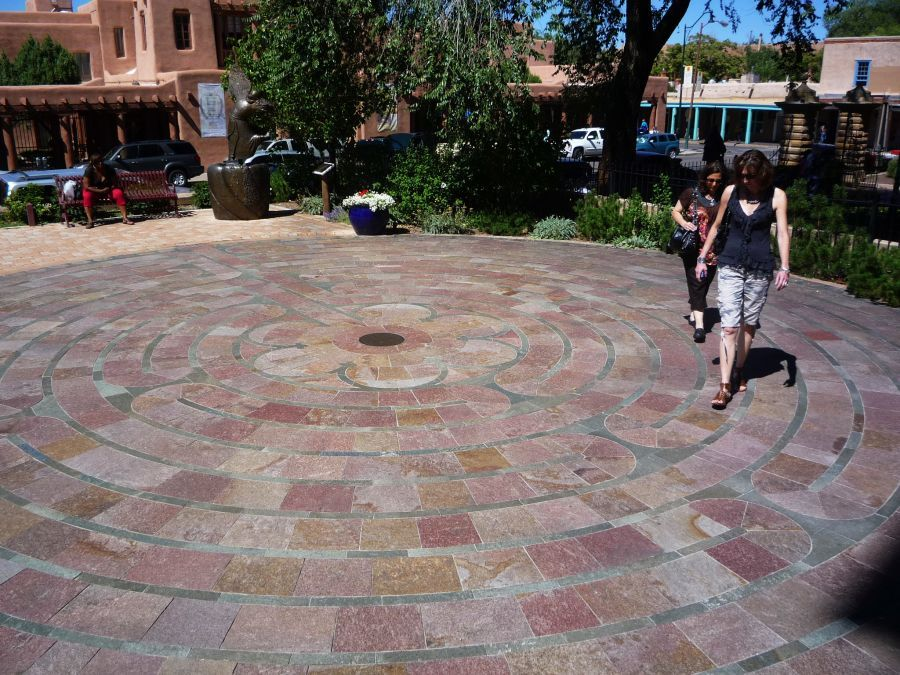 The Labyrinth at the Cathedral Basilica of St. Francis of Assisi in historic downtown Santa Fe, NM.   Go to www.YourTravelVideos.com or just click on photo for home videos and much more on sites like this.