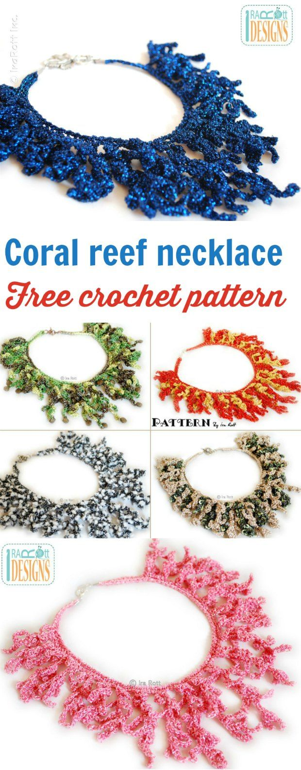 Free Crochet Necklace Coral Reef Pattern | ganchillo | Pinterest ...