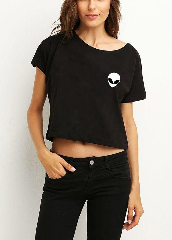 7eecaca7398 ... Machine Washable at low temperature (Recommended 30 degree) If the size  you wanted is not available, please contact us. This ALIEN BLACK GIRLS CROP  TOP ...