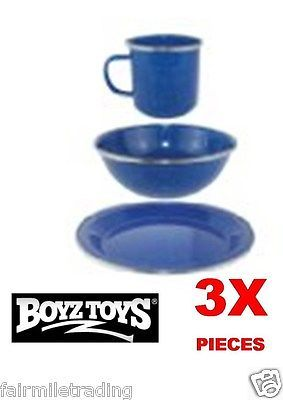 Captivating 3 X #classic Blue Enamel Mugs Bowls #plates Dining Set Camping #fishing Cups
