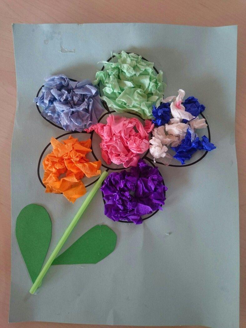 Activité Manuelle Avec Du Papier Peint fleurs avec du papier crépon | bricolage de paques