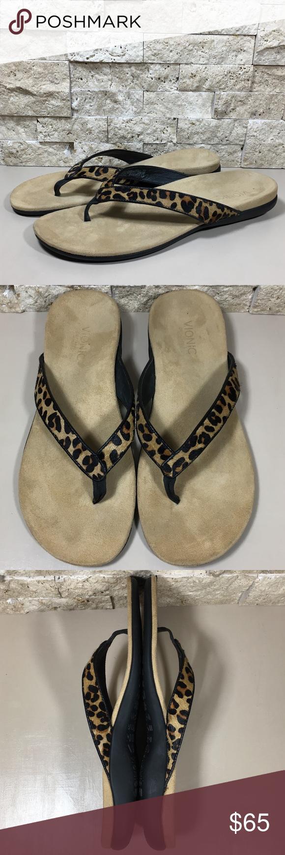 5ab3723e6e6260 Vionic Flip Flop Sandals Orthaheel Leopard Selena Vionic Selena leopard  print calf hair leather flip flop
