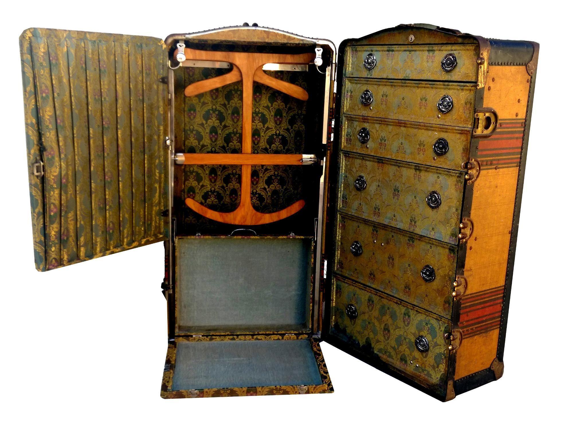 Antique Indestructo Travel Wardrobe Steamer Trunk | Steamer trunk, Travel  wardrobe, Old trunk