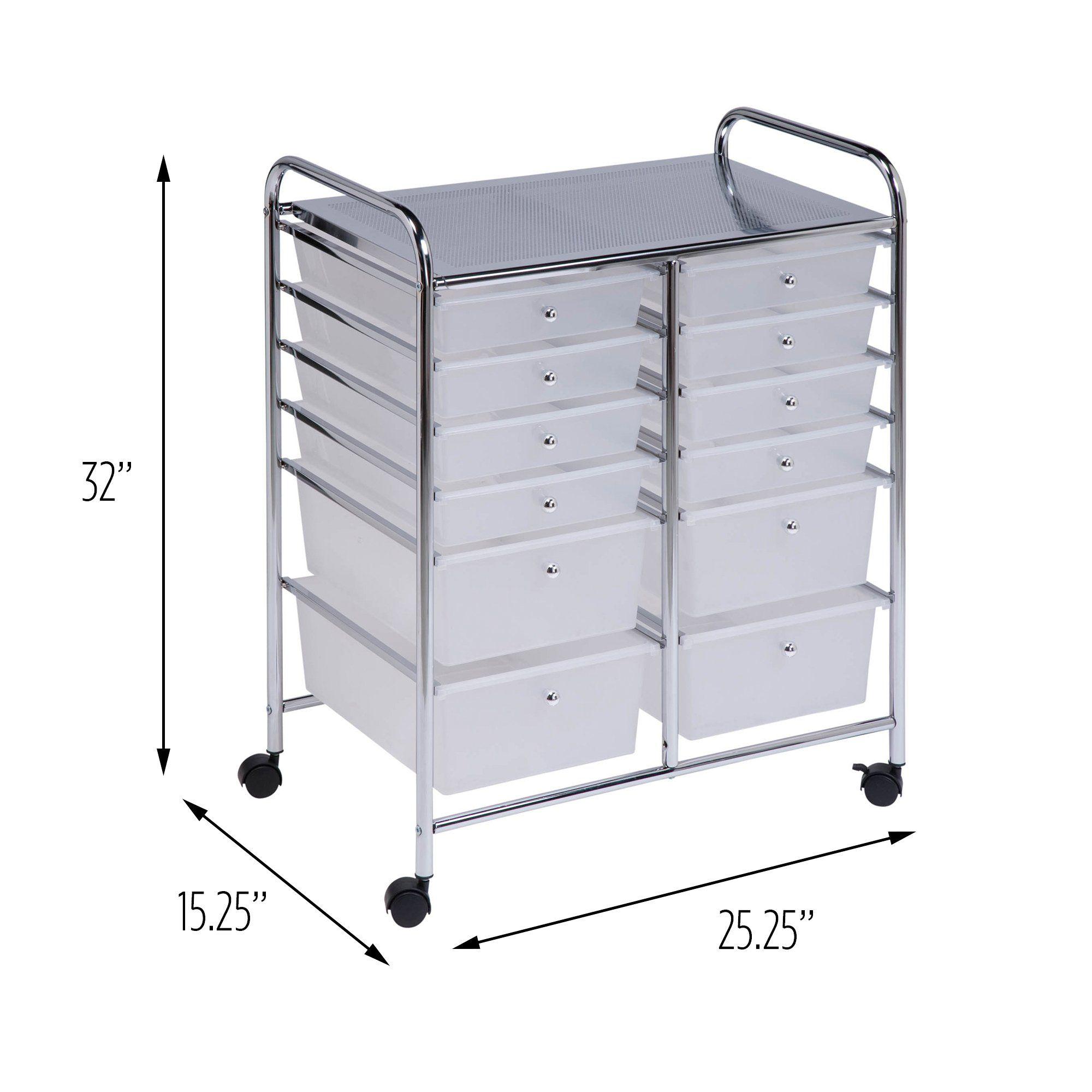 Honeycando Rolling Storage Cart And Organizer With 12 Plastic