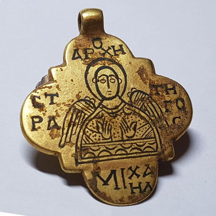 Early medieval byzantine gold pendant with niello inlaid of st early medieval byzantine gold pendant with niello inlaid of st michael 42 aloadofball Choice Image