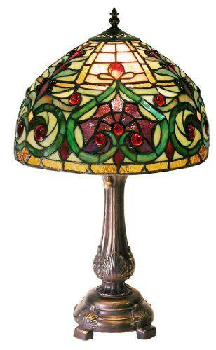 Warehouse of Tiffany 1669 MB163 Tiffany style Jeweled Petite Table Lamp, Green Warehouse of ...