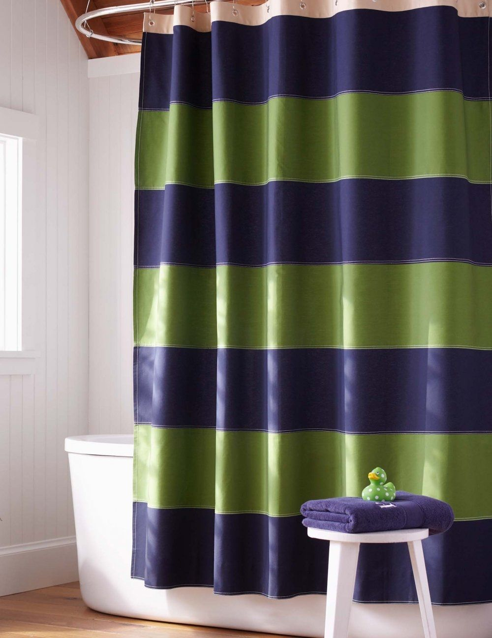 Blue Green Striped Shower Curtain