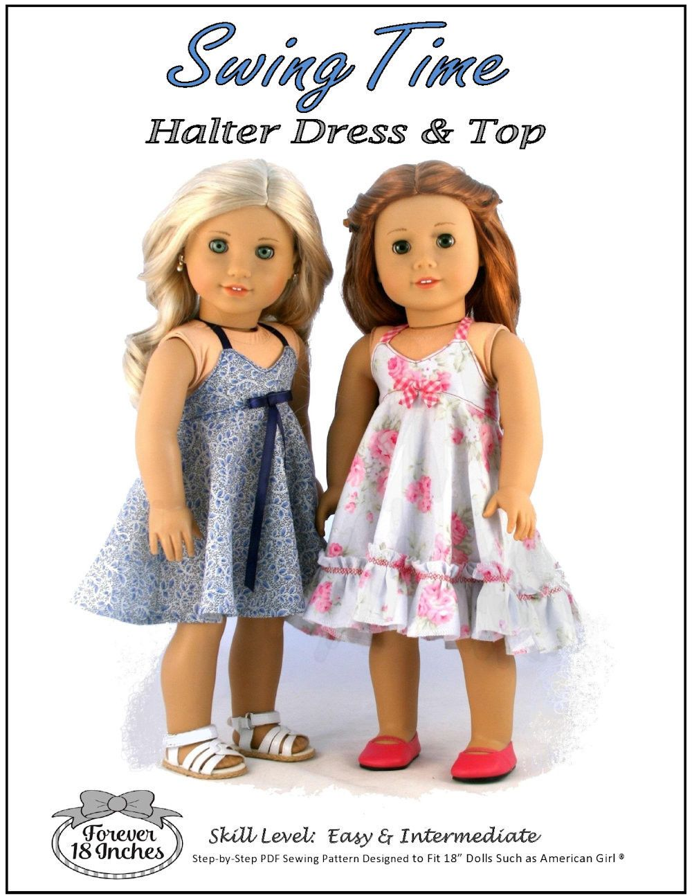 Forever 18 Inches Swing Time Halter Dress & Top Doll Clothes Pattern 18 inch American Girl Dolls | Pixie Faire