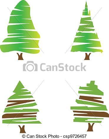 Vectors Illustration Of Set Of Green Trees Logo Stock Vector Csp9726457 Search Clipart Illustration Drawing Tree Wallpaper Iphone Tree Mural Diy Tree Logos