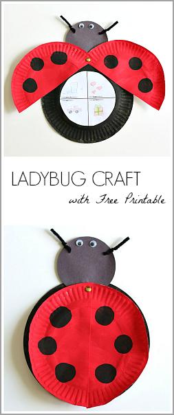 Paper Plate Ladybug Craft Inšpirovaný Eric Carle je mrmlanie Lienka (ZADARMO tlačiteľné) ~ Buggy a Buddy
