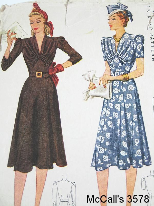 Vintage 40s Dress Pattern - McCall 3578 - Misses' One Piece Dress - Bust 36. $55,00, via Etsy.