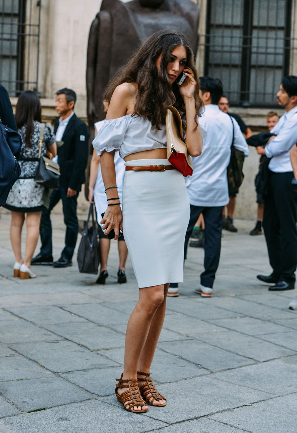 love the natural hair and easy going top with sleek pencil skirt