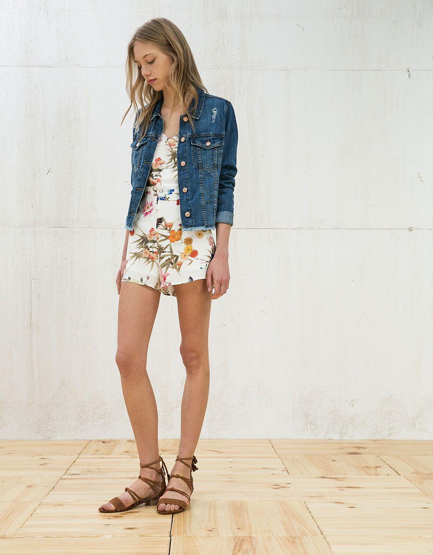 2434c746acf7 Floral print short romper - Dresses   Jumpsuits - Bershka Philippines