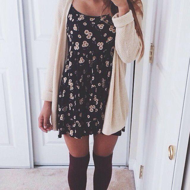 sunflower dress thick cardigan over knee high socks