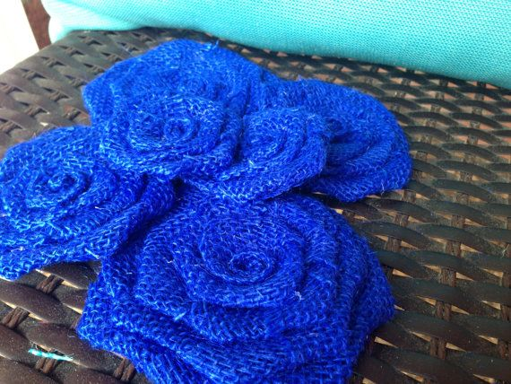 Six Blue Burlap Flowers by SimplySouthernCrafts on Etsy $10.00