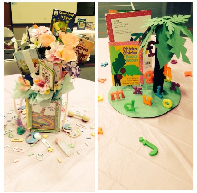 Book Themed Baby Shower Table Centerpieces One On Left Is Inspire By Childre Boy Baby Shower Centerpieces Baby Shower Table Centerpieces Storybook Baby Shower