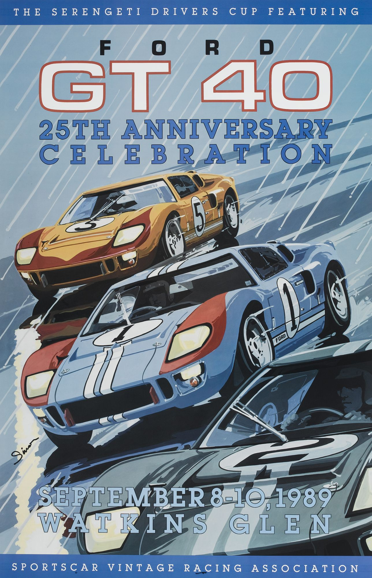 Ford Gt Poster : poster, Vintage, Style, Poster., Racing., Dennis, Simon., Poster, Available, Centuryofspeed.co…, Racing, Racing,, Posters