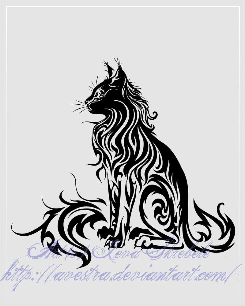 Sitting Cat Tribal Tattoo Ii By Avestra On Deviantart Kunst