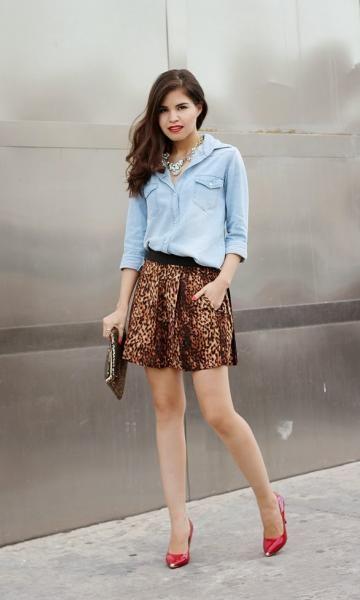 06a77ca5b5 Look: Denim & Animal Print - Moda it | Moda It Camisa Jeans + Saia ...