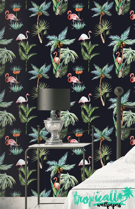 Flamingo Wallpaper Removable Wallpapers Floral Palm Tree Etsy Tree Print Wallpaper Flamingo Wallpaper Stick Wall Art