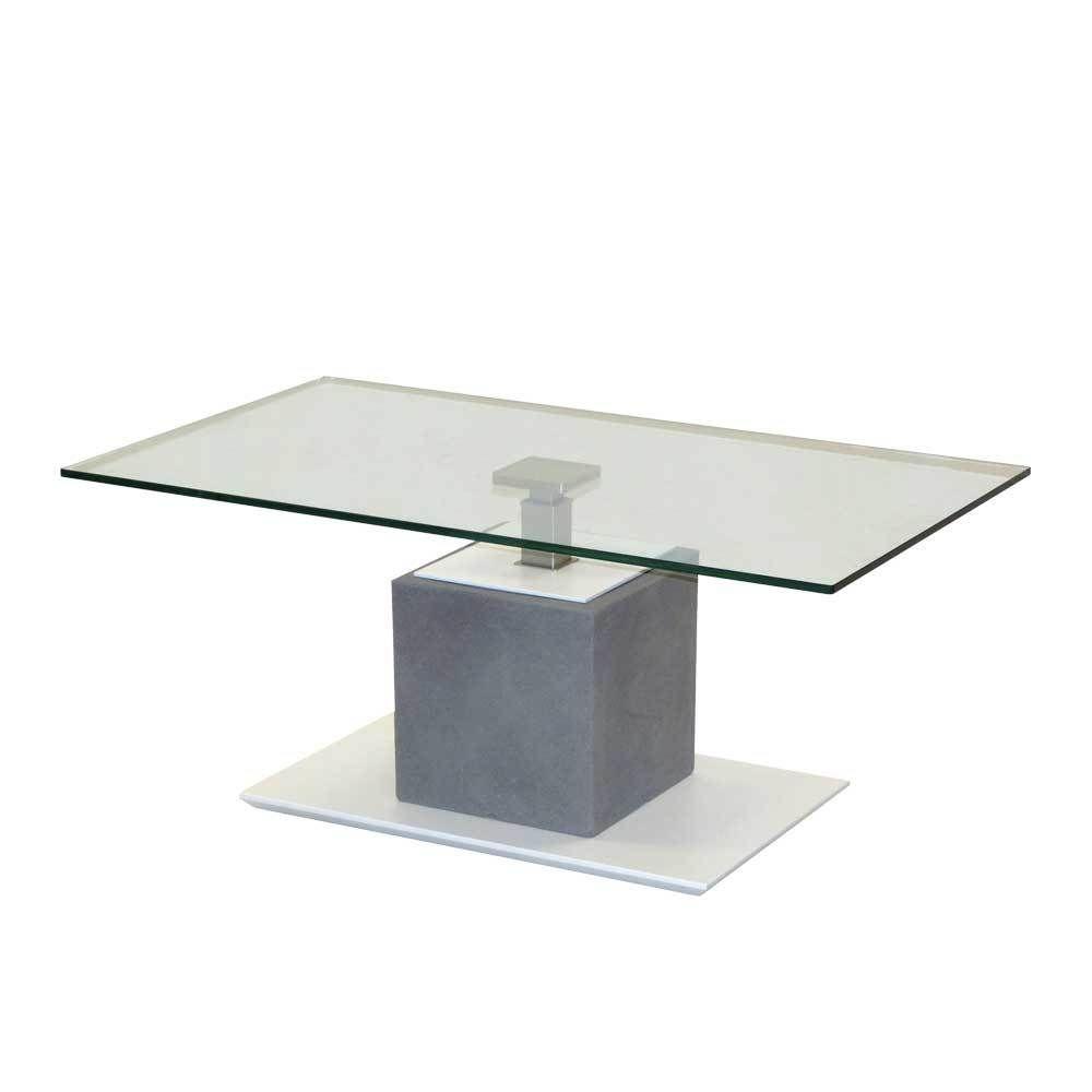 Hhenverstellbarer Couchtisch In Weiss Grau Beton Optik Glasplatte Jetzt Bestellen Unter Moebelladendirektde Wohnzimmer Tische Couchtische Uid
