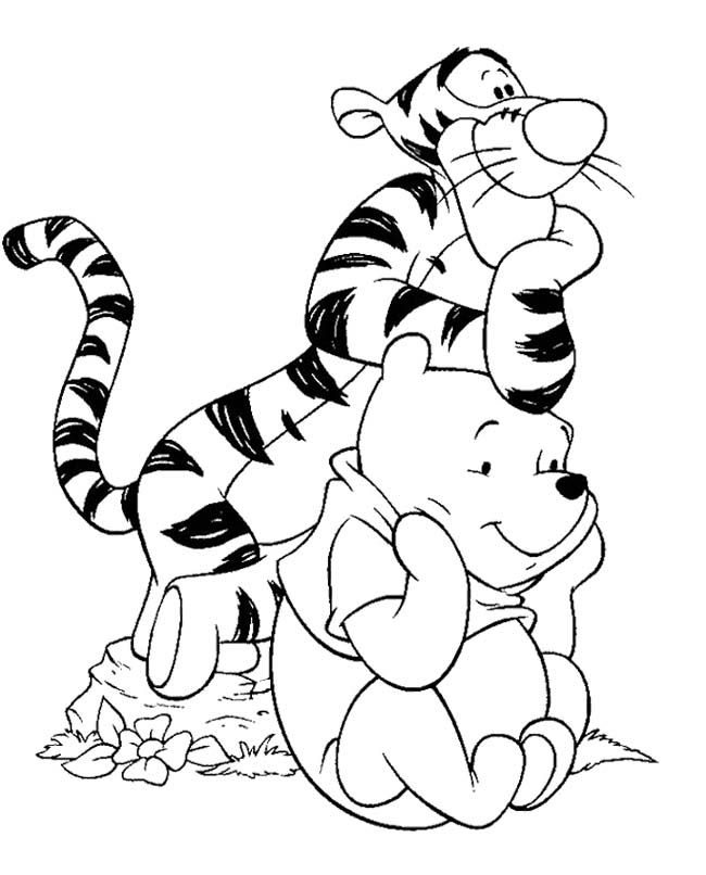 Winnie The Pooh And Tigger Coloring Page Cartoon Coloring Pages