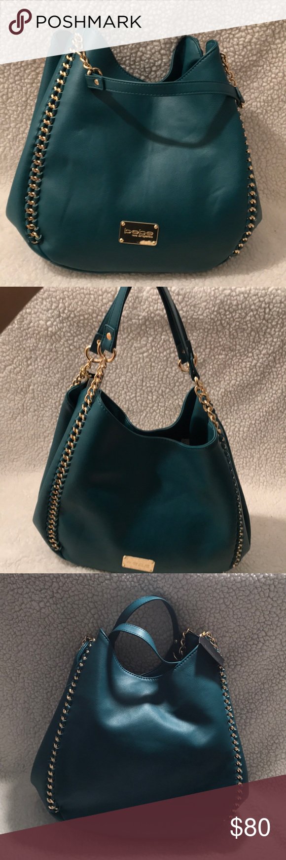 Just AddedHost Pick Bebe 3 Pocket Tote Bag 3 Pocket Tote bag by Bebe. Two Size Snap closure. one Middle zipper. Color is a Greenish Blue with gold chain trim. bebe Bags Shoulder Bags