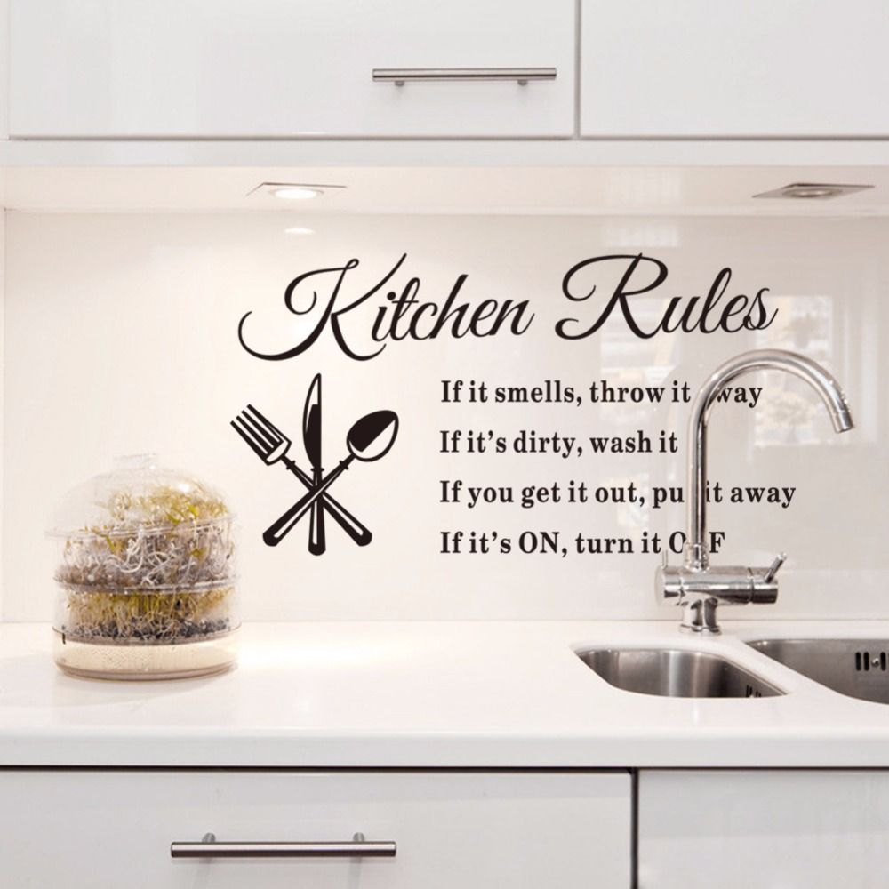 Kitchen Rules Living Room Kitchen Vinyl Wall Stickers