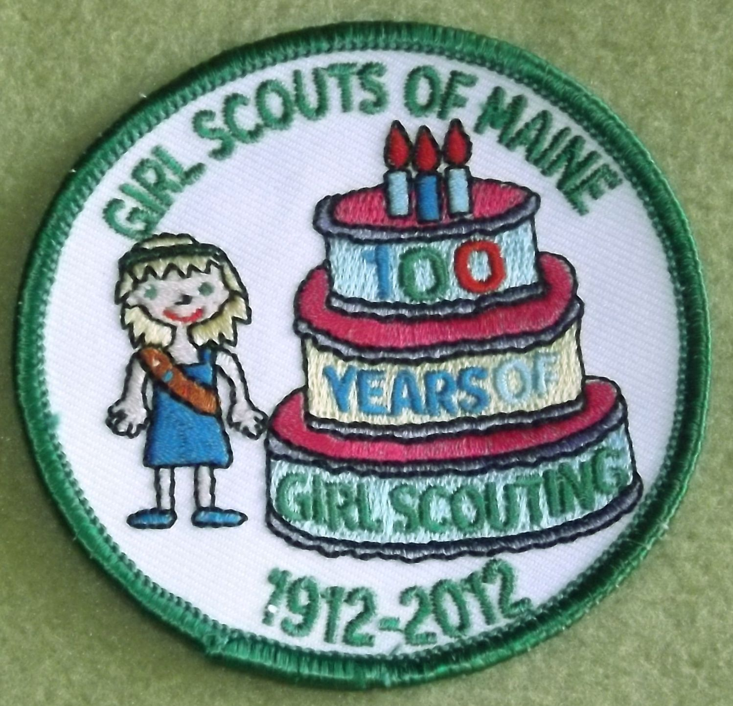 Girl Scouts Of Maine 100th Anniversary Patch Cake Patch