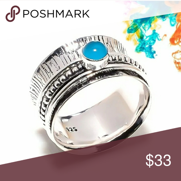New Chalcedony 925 Silver Spinner Ring Size 10 Silver Spinner Rings Womens Jewelry Rings Chalcedony
