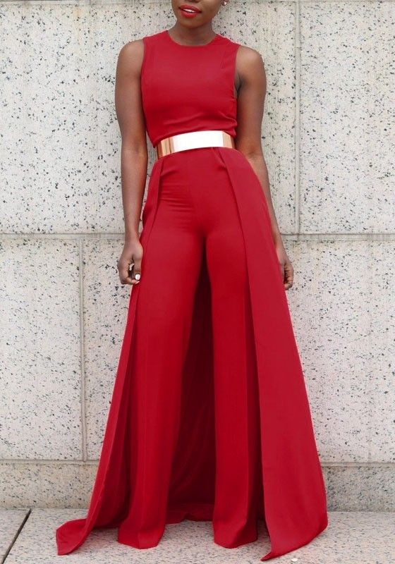 a230d21e3be Red Plain Zipper Sleeveless High Waisted Long Jumpsuit With Maxi Overlay
