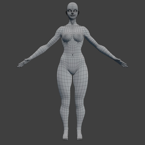 woman character base mesh rigged 3d model low-poly rigged obj fbx