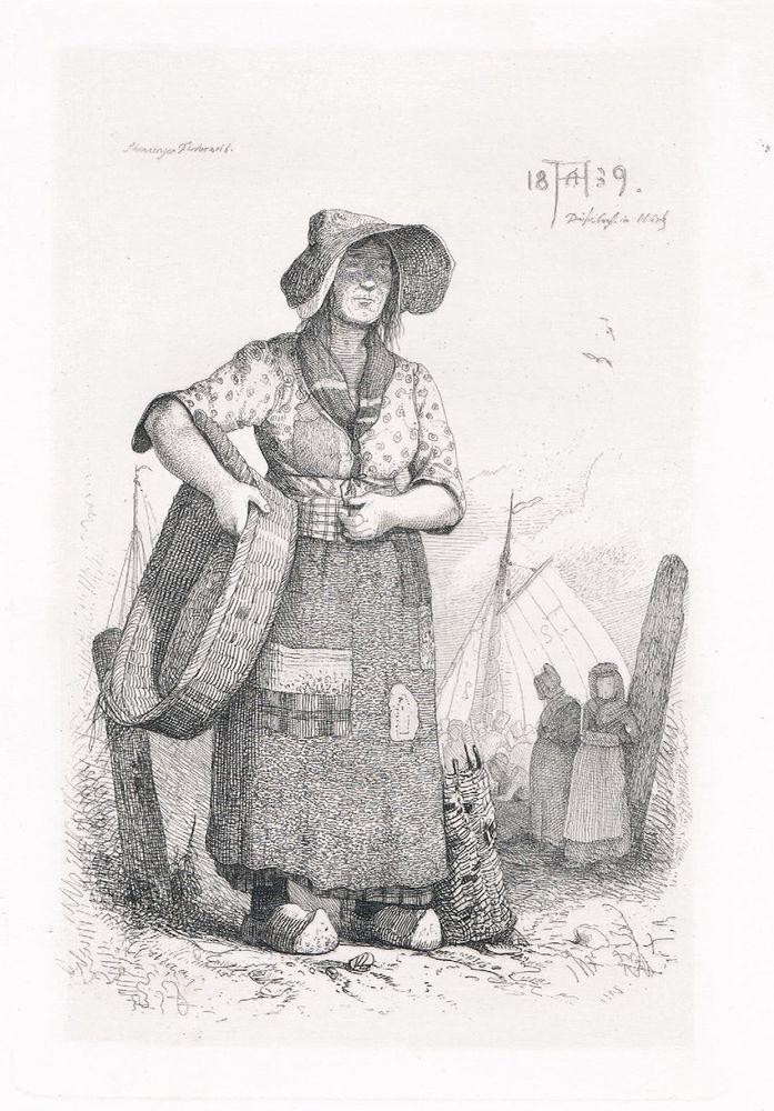 Antiquitäten Düsseldorf 1839 andreas achenbach düsseldorf radierung fischerin den haag