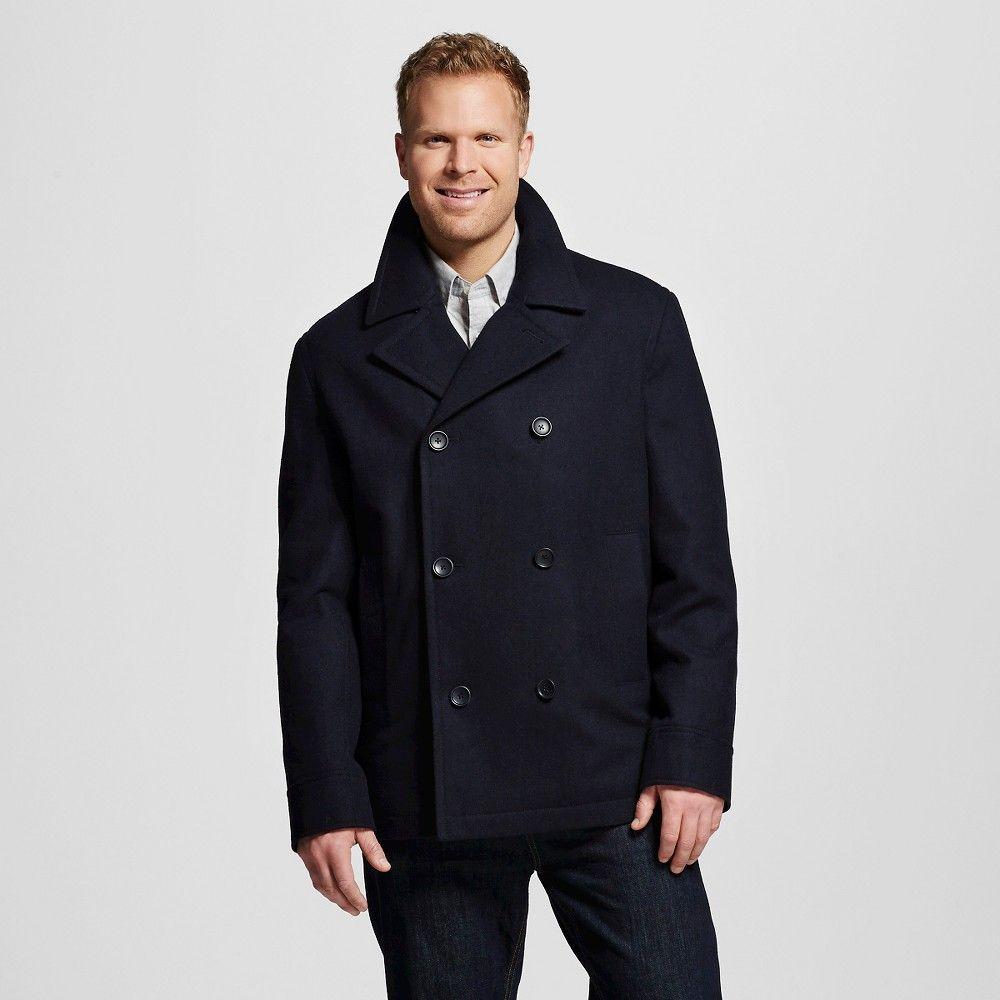 Men's Big & Tall Wool Pea Coat Navy (Blue) Xxxl Tall - Merona ...