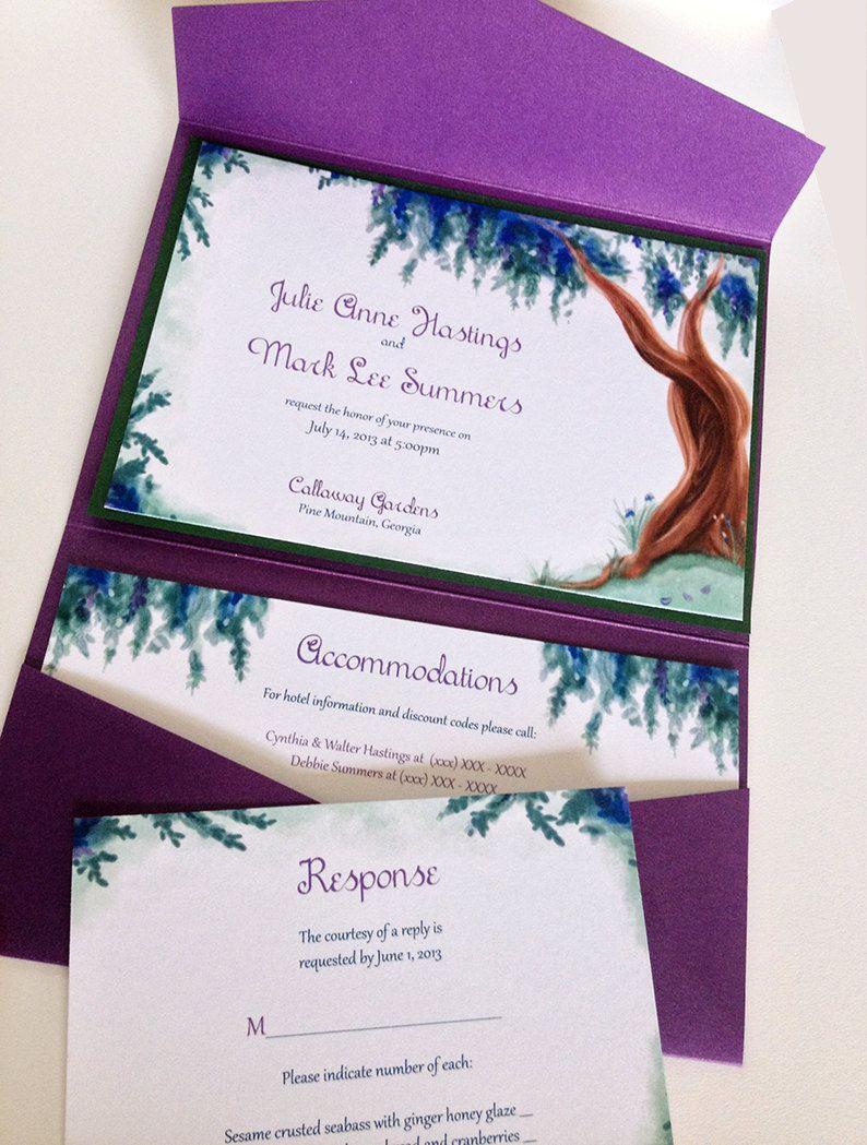 Watercolor Wedding Pocketfold Invitation Set - Watercolor Invitation ...