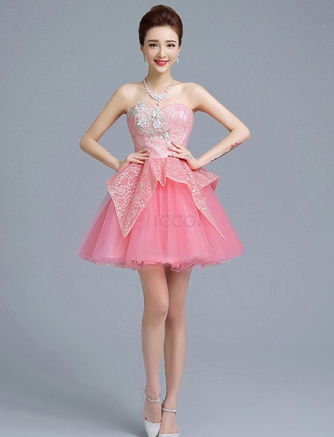 ❀ Pink Homecoming Dress With Embroidery And Flower Top | Riccol ...
