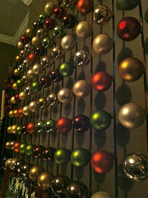Containers of Baubles are pretty cheap; could we hang strings of them on the walls instead of a tree?