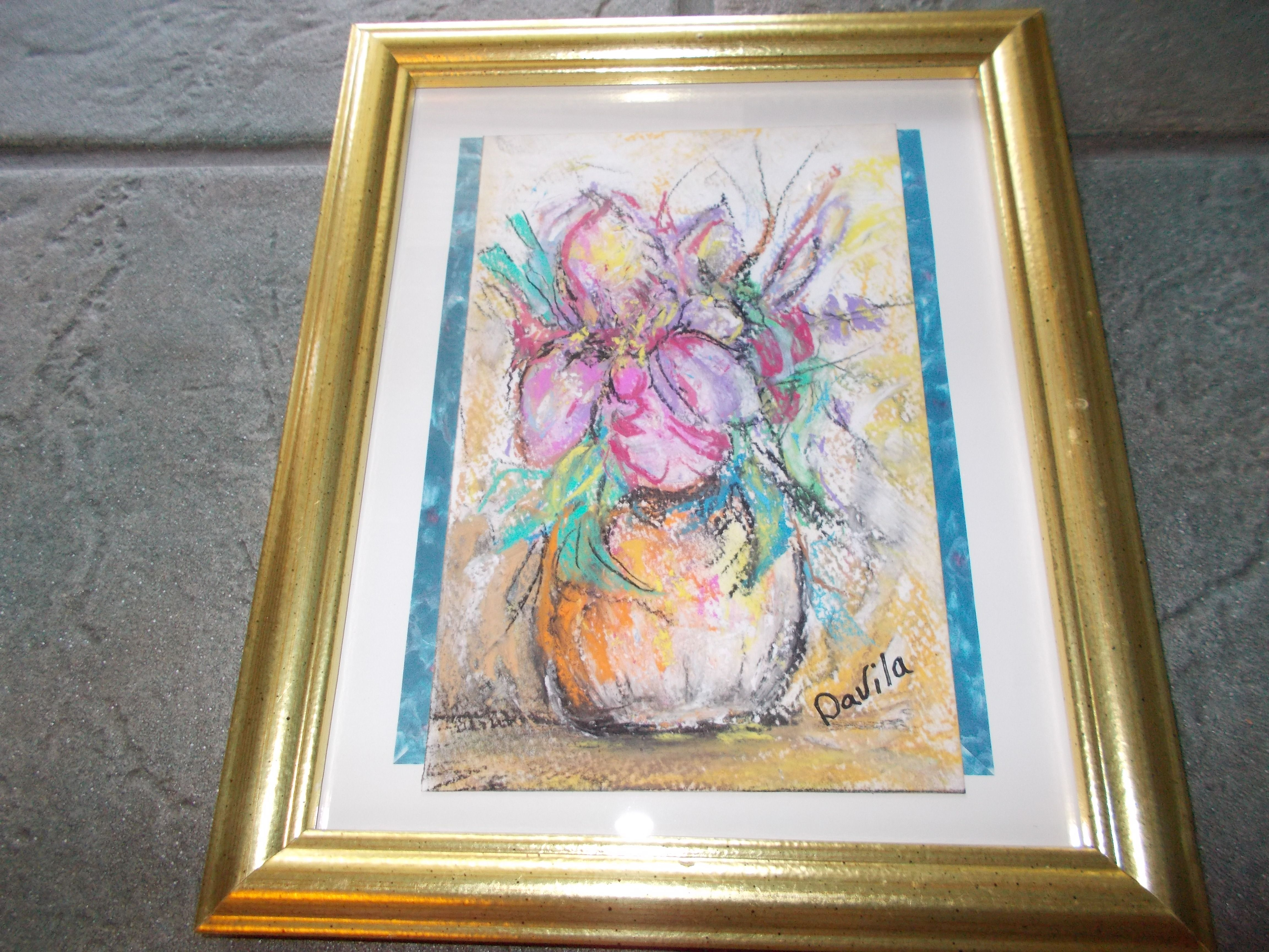 ORIGINAL MULTICOLOR FLORAL IN PASTEL CHALK DIRECT FROM TEXAS ARTIST ...