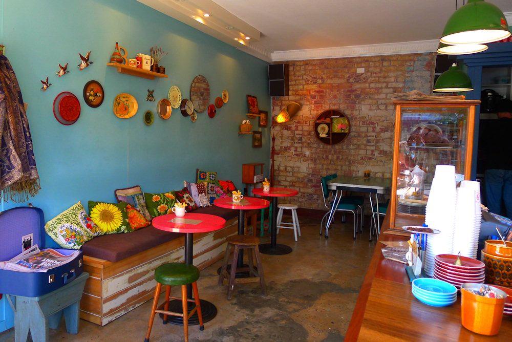 Very cute/vintage/kitsch interior at Bell Jar Coffee