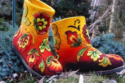 Валенки «Хохлома 1» Русский стиль - хохлома,хохломская роспись,валяная обувь