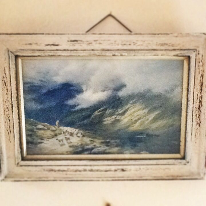 Shabby chic old picture of a fell