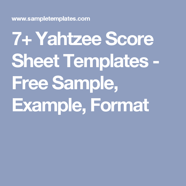 Yahtzee Score Sheet Templates  Free Sample Example Format