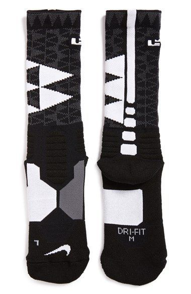 Nike 'LeBron - Hyper Elite' Cushioned Basketball Crew Socks ...
