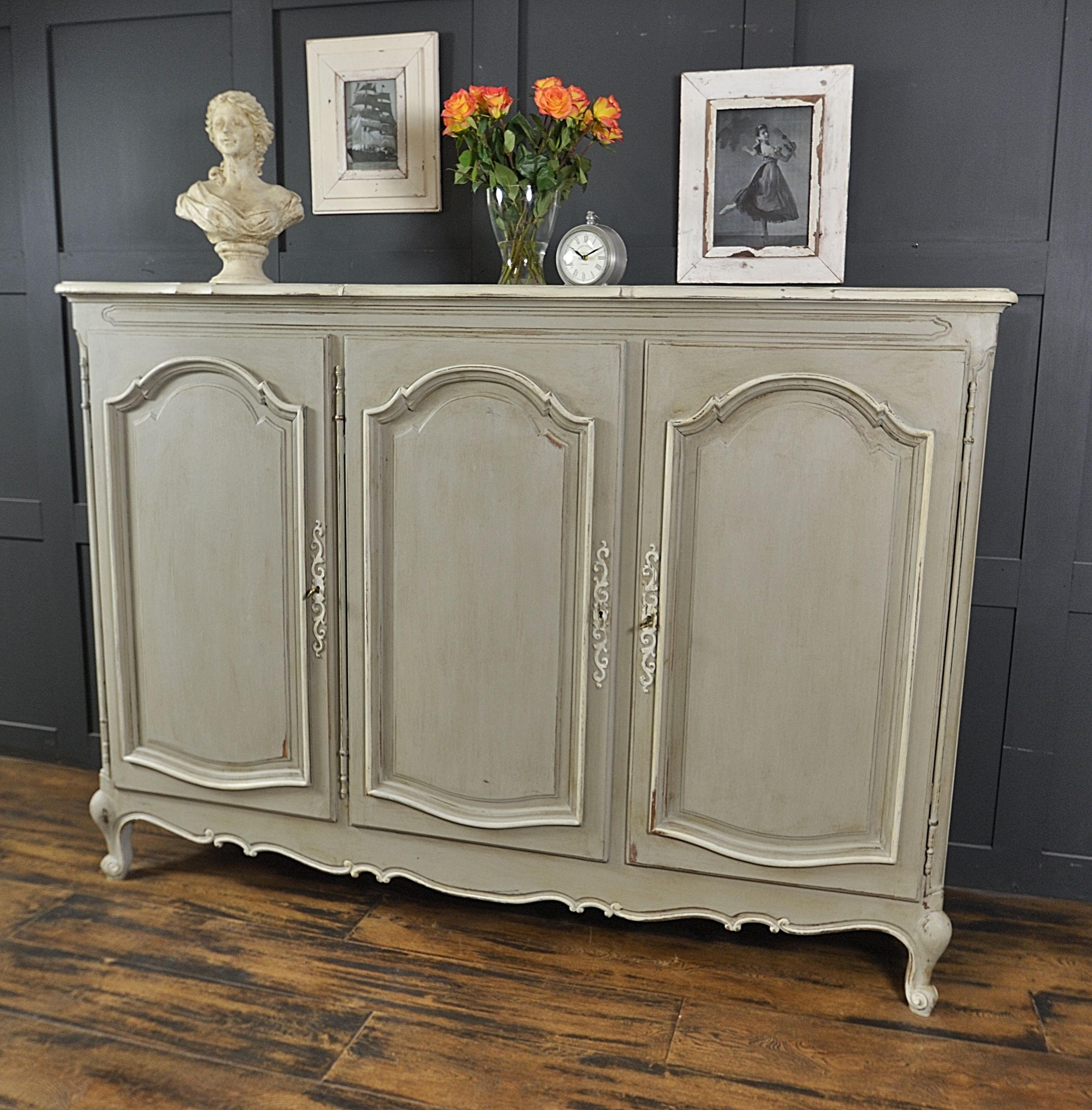 we 39 ve painted this stunning oak sideboard from france in annie sloan paris grey with farrow. Black Bedroom Furniture Sets. Home Design Ideas