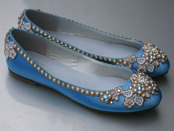 Something Blue Bridal Ballet Flats Wedding Shoes By BeholdenBridal, $195.00